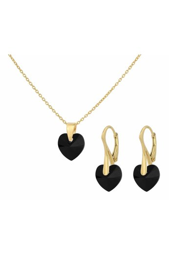Jewelry set sterling silver gold plated - necklace earrings Swarovski crystal heart black - ARLIZI 1603 - Eva