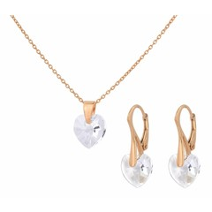 Jewelry set sterling silver rose gold plated - crystal heart transparent - 1605