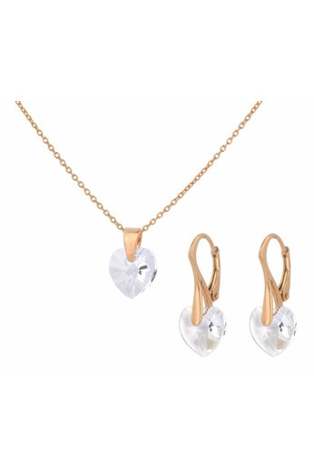 Jewelry set sterling silver rose gold plated - necklace earrings Swarovski crystal heart transparent - ARLIZI 1605 - Eva