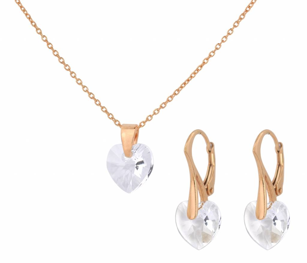 97c4ede2720b6 Jewelry set 925 silver rose gold plated crystal heart - ARLIZI 1605