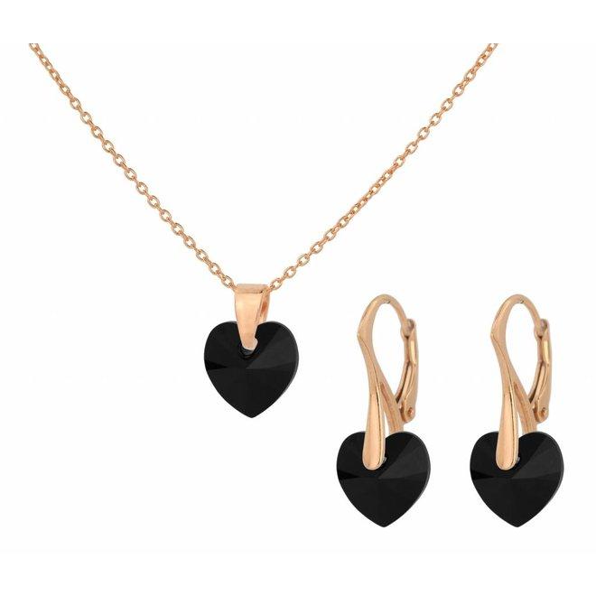Jewelry set sterling silver rose gold plated - necklace earrings Swarovski crystal heart black - ARLIZI 1606 - Eva