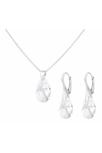 Jewelry set sterling silver - necklace earrings Swarovski crystal drop transparent - ARLIZI 1607 - Romy