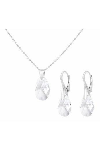 Schmuck Set Sterling Silber - Halskette Ohrringe Swarovski Kristall Tropfen transparent - ARLIZI 1607 - Romy