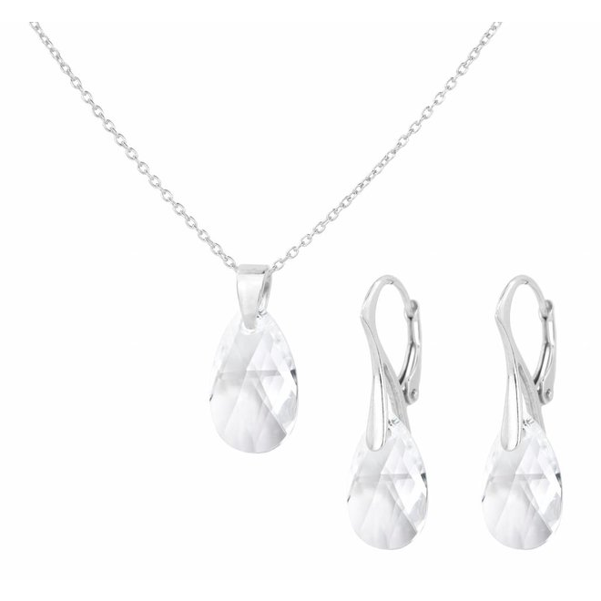 Sieraden set sterling zilver - kristal druppel transparant - 1607