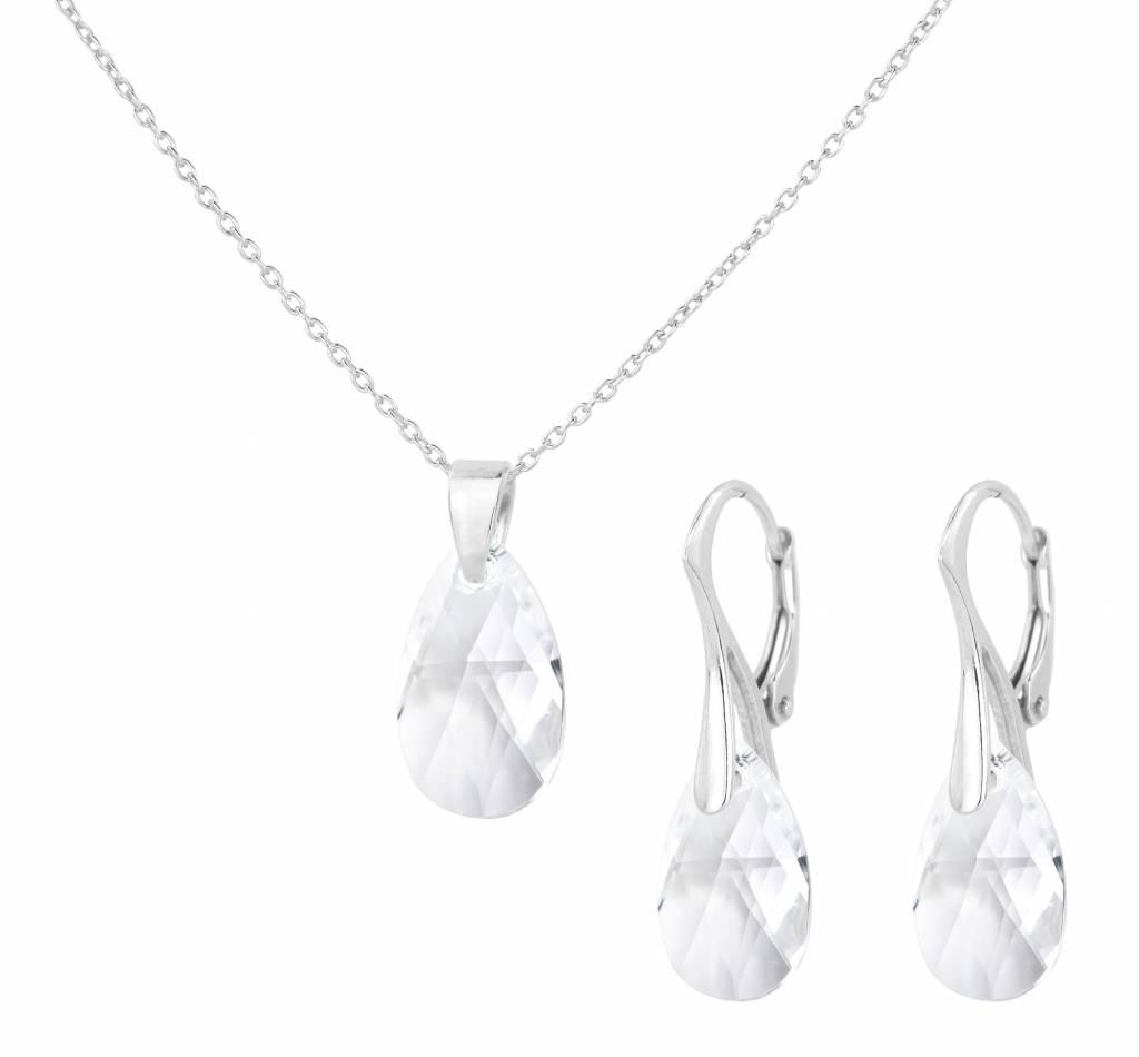 Jewelry Set Sterling Silver Necklace Earrings Swarovski Crystal Drop Transpa Arlizi 1607 Romy