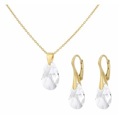 Jewelry set sterling silver gold plated - crystal drop transparent - 1609
