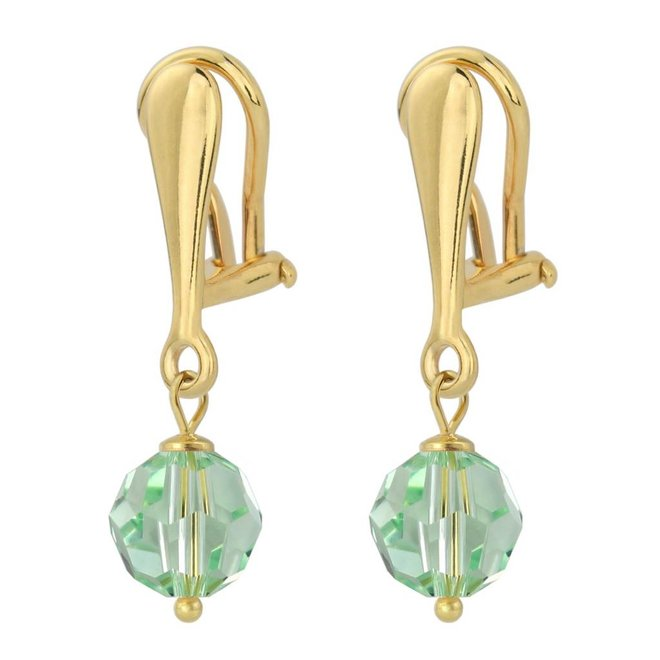 Earrings crystal 925 silver gold plated 3 cm green - 1613