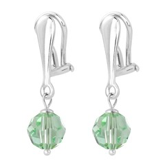 Earrings crystal 925 silver 3 cm green - 1614