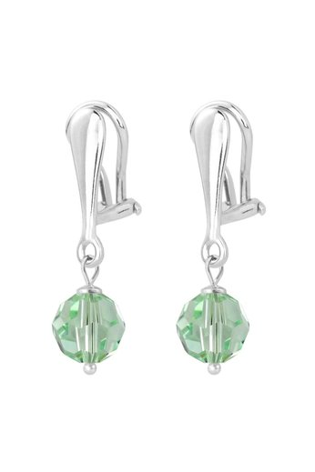 Earrings crystal ear clips sterling silver 3 cm green - ARLIZI 1614 - Harper