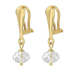 Earrings crystal 925 silver gold plated 3 cm transparent - 1615