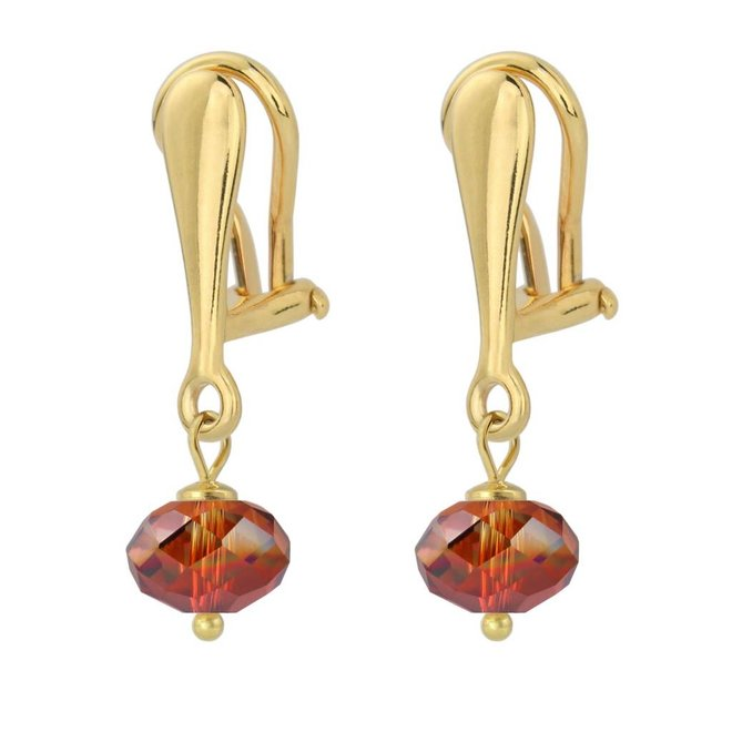 Earrings crystal 925 silver gold plated 3 cm red - 1621