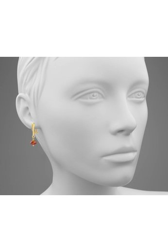 Earrings crystal ear clips sterling silver gold plated 3 cm red - ARLIZI 1621 - Harper