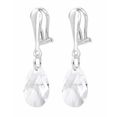 Earrings sterling silver clip on crystal - 1625