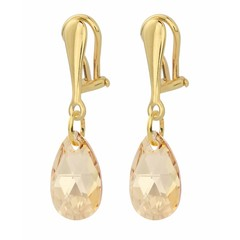 Earrings sterling silver gold plated clip on crystal - 1627