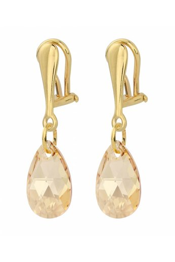 Earrings clip on sterling silver gold plated Swarovski crystal drop - ARLIZI 1627 - Romy