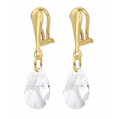Earrings sterling silver gold plated clip on crystal - 1628
