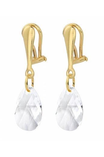 Earrings clip on sterling silver gold plated Swarovski crystal drop transparent - ARLIZI 1628 - Romy