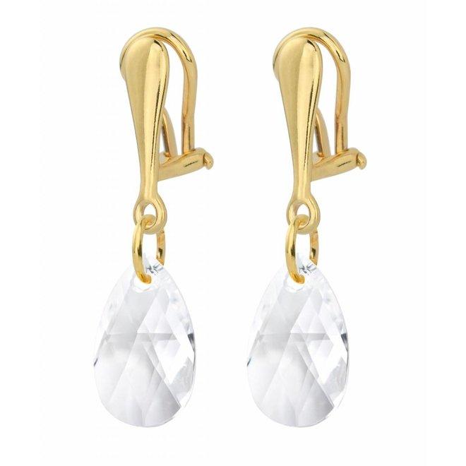Ohrringe Sterling Silber vergoldet Ohrclips Kristall - 1628