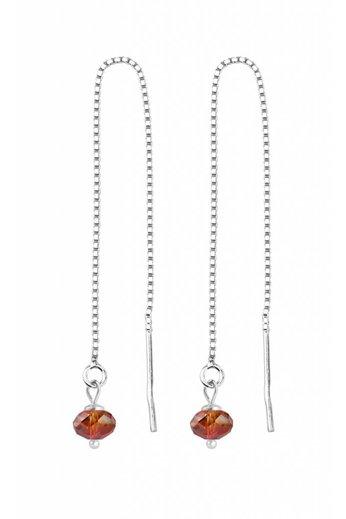 Doortrekoorbellen rood Swarovski kristal - sterling zilver - ARLIZI 1631 - Emma