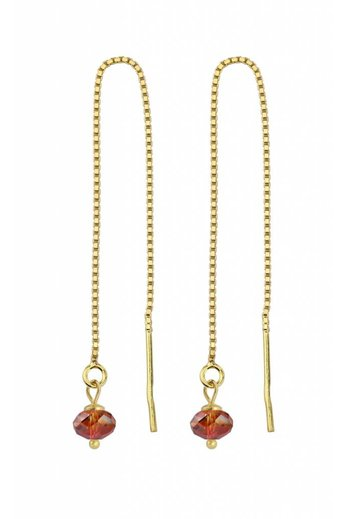 Doortrekoorbellen rood Swarovski kristal - sterling zilver verguld - ARLIZI 1632 - Emma