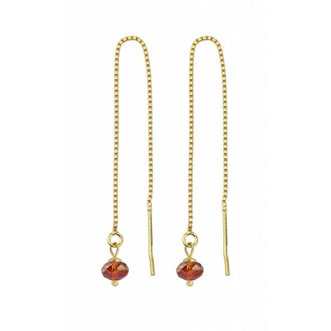 Durchzieher Ohrringe rot Kristall Silber vergoldet - 1632