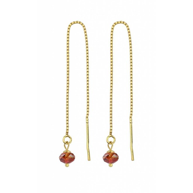 Earrings red Swarovski crystal ear threads - sterling silver verguld - ARLIZI 1632 - Emma