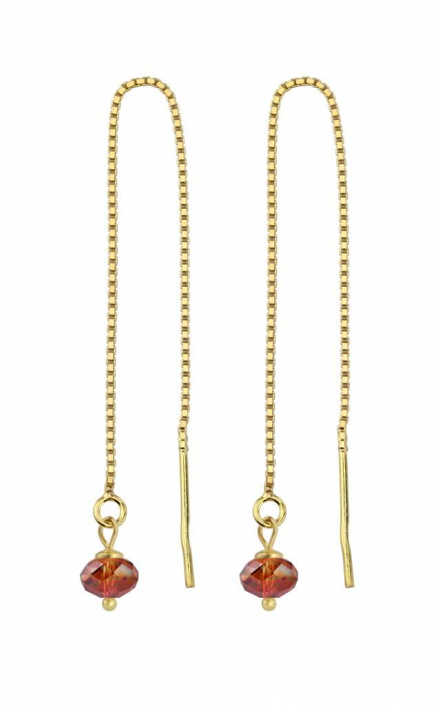Earrings Red Swarovski Crystal Silver Gold Plated Arlizi 1632