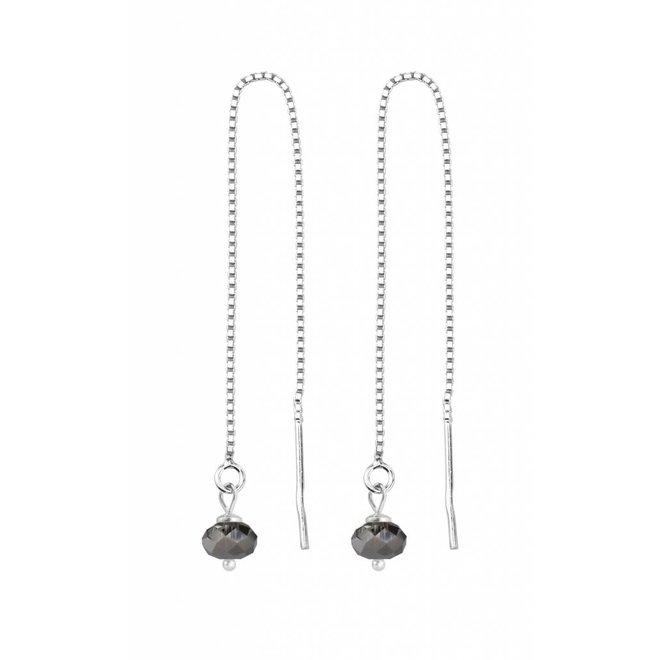 Doortrekoorbellen zwart kristal sterling zilver - 1633