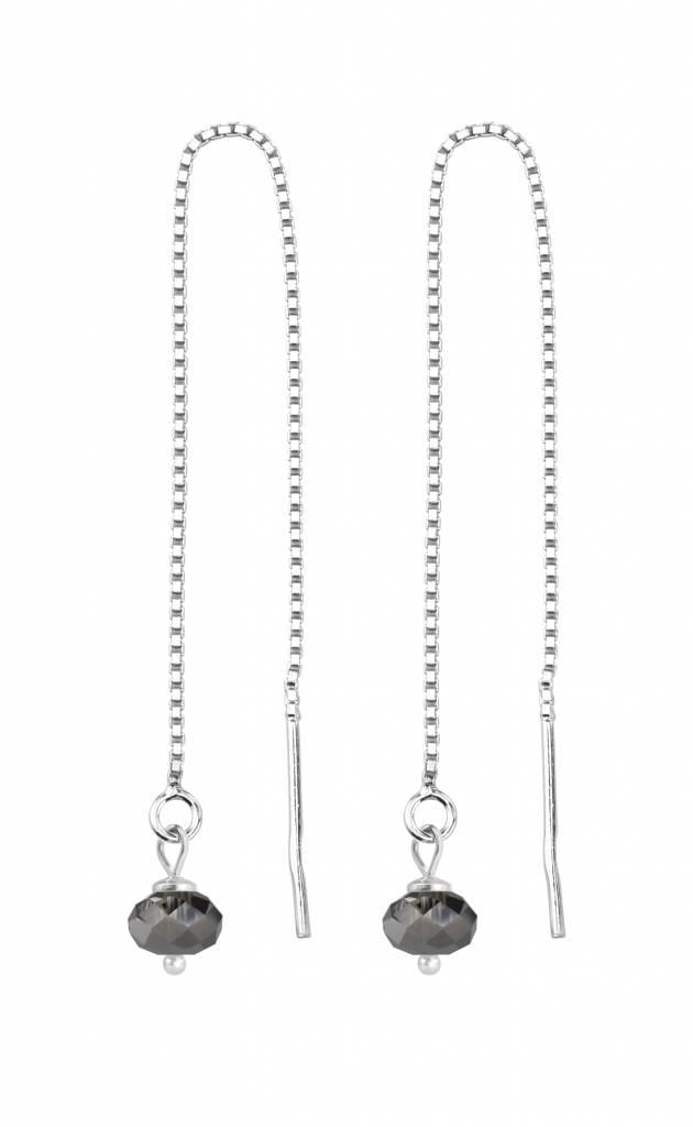 Earrings Black Swarovski Crystal Silver Arlizi 1633