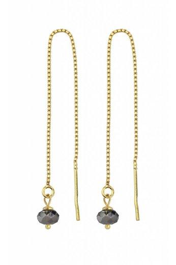 Earrings black Swarovski crystal ear threads - sterling silver verguld - ARLIZI 1634 - Emma