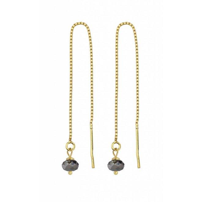 Durchzieher Ohrringe schwarz Kristall Silber vergoldet - 1634