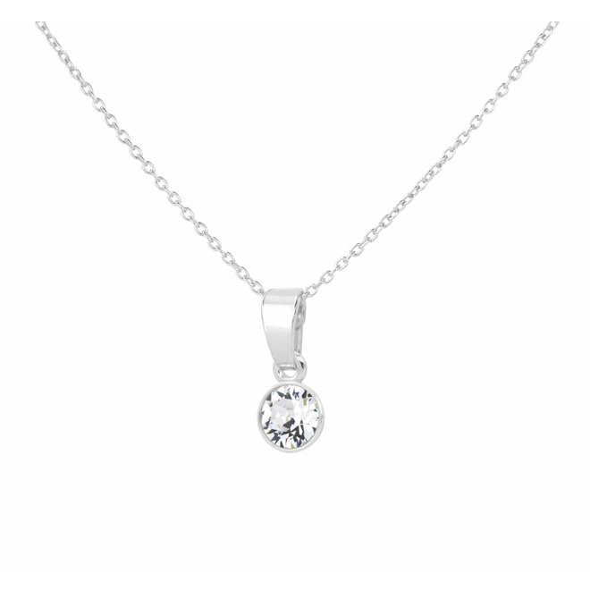 Necklace transparent Swarovski crystal pendant 6mm - sterling silver - ARLIZI 1636 - Nala