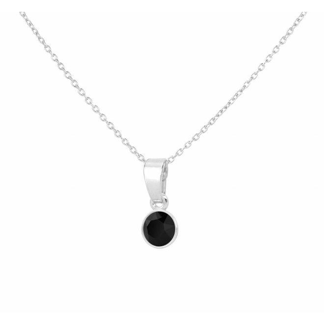 Necklace black Swarovski crystal pendant 6mm - sterling silver - ARLIZI 1638 - Nala