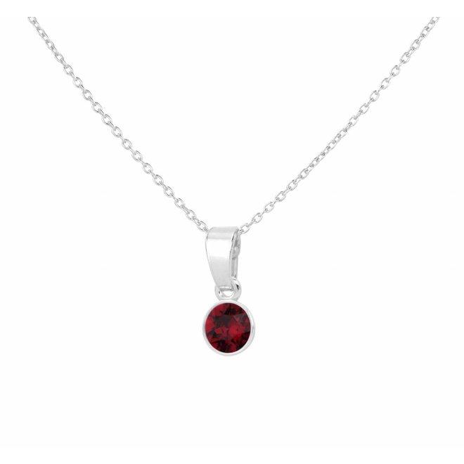 Necklace red Swarovski crystal pendant 6mm - sterling silver - ARLIZI 1642 - Nala