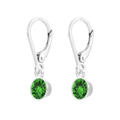Earrings crystal pendant sterling silver - 1643