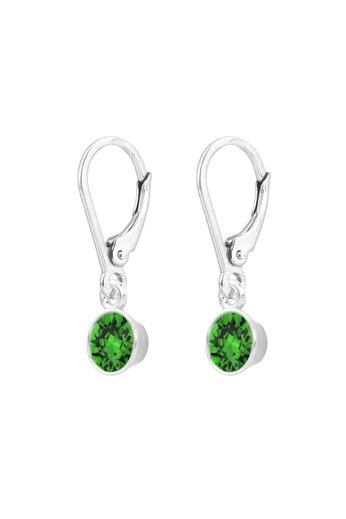 Earrings green Swarovski crystal pendant 6mm - sterling silver - ARLIZI 1643 - Nala
