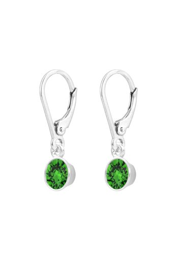 Ohrringe grün Swarovski Kristall Anhänger 6mm - Sterling Silber - ARLIZI 1643 - Nala
