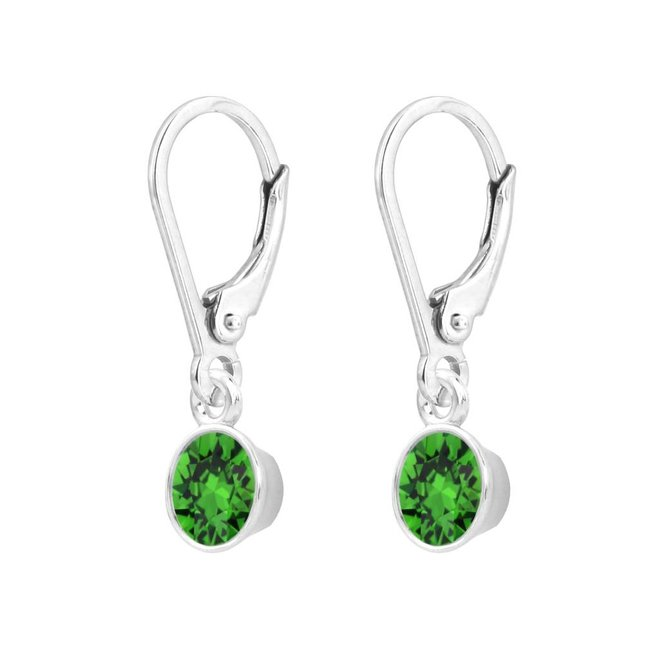 Earrings green Swarovski crystal pendant 6mm - sterling silver - ARLIZI 1643 - Nala