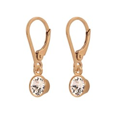 Earrings crystal sterling silver rose gold plated - 1645