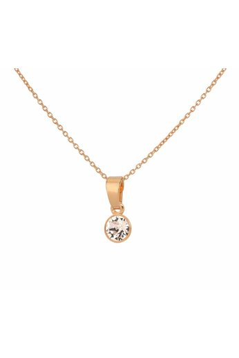Necklace Swarovski crystal pendant 6mm - sterling silver rose gold plated - ARLIZI 1646 - Nala