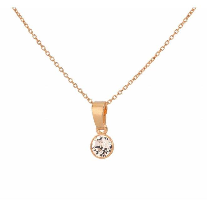 Ketting kristal sterling zilver roséverguld - 1646