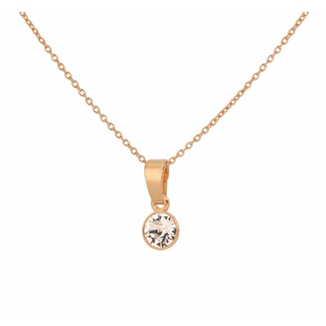 Necklace crystal sterling silver rose gold plated - 1646