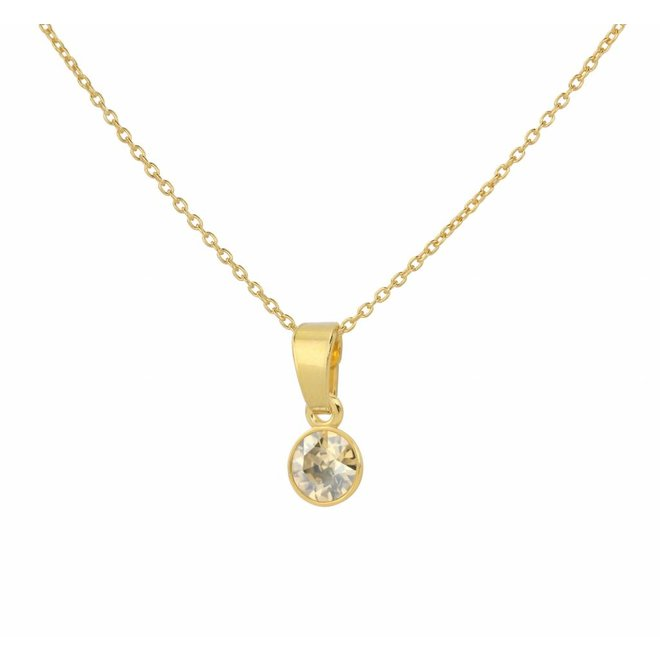 Necklace Swarovski crystal pendant 6mm - sterling silver gold plated - ARLIZI 1648 - Nala