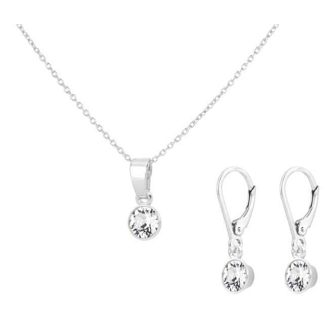 Jewelry set sterling silver crystal transparent - 1653
