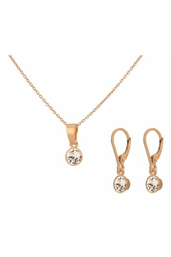 Jewelry set sterling silver rose gold plated - Swarovski crystal pendant - ARLIZI 1654 - Nala