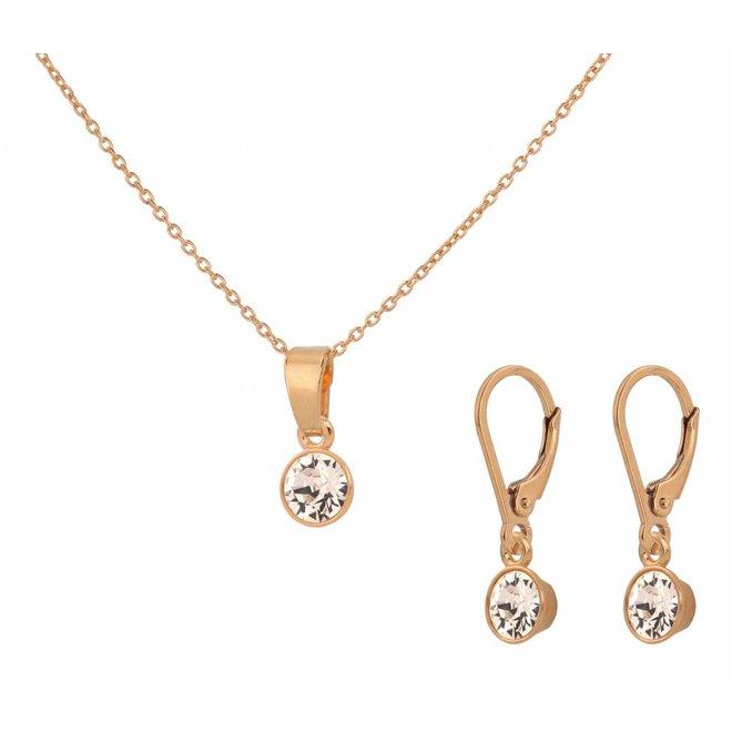 Schmuck Set Sterling Silber rosévergoldet - Swarovski Kristall Anhänger - ARLIZI 1654 - Nala