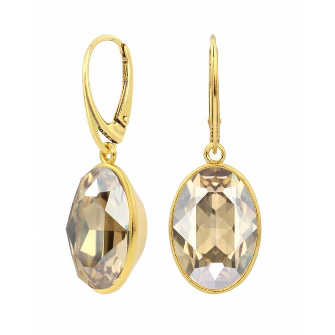 Earrings Swarovski crystal pendant - sterling silver gold plated - ARLIZI 1664 - Claudia