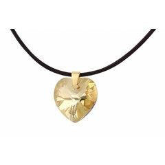 Necklace leather crystal heart silver gold plated - 1671