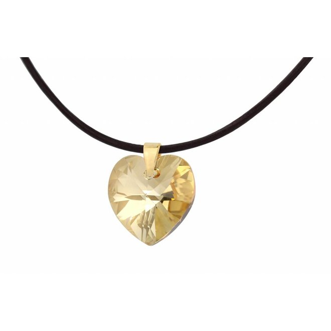 Leather necklace Swarovski crystal heart - gold plated sterling silver - ARLIZI 1671 - Iris