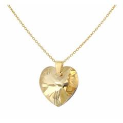 Halskette Kristall Herz Silber vergoldet - 1672